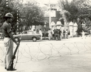 Police barricades outside Lahore High Court, 1978