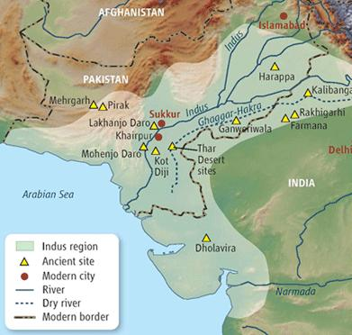 Science June 6 2008, Map of the Indus Valley Civilization