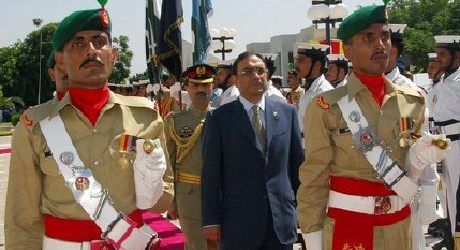Presidents Pervez Musharraf and Asif Zardari
