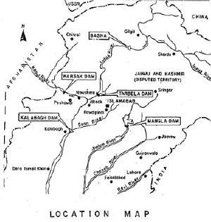 Map Pakistan Dam Kalabagh Mangla Basha Tarbela